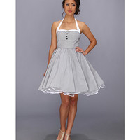 Unique Vintage Pinstripe Halter Swing Dress Black/White - Zappos.com Free Shipping BOTH Ways