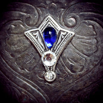 Sapphire Fan Bindi, spiritual jewelry, third eye chakra, blue, silver, tribal fusion, bellydance, wicca, pagan, magic, gypsy costume, fairy