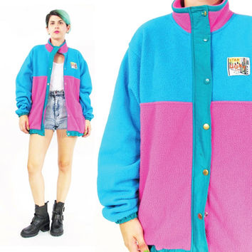 80s 90s Fleece Jacket Warm Fleece Neon Sweatshirt Zip Up Track Jacket Outdoors Camping Jacket Color Block Pink Blue Womens Outerwear (S/M)