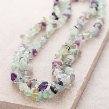 Rainbow Fluorite Gemstone Chip Necklace