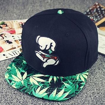 Finger Marijuana Leaf Print Men Hip-hop Baseball Cap Flat Brim Sun Hats & Caps