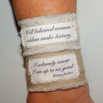 Quote Bracelet Quote Jewelry Saying Bracelet Personal Christmas Gift Fabric Bracelet well behaved women