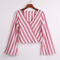 Beatrice Striped Flare Sleeve Top