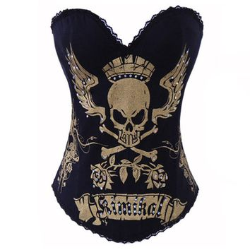 Punk corset and bustier skull fashion women