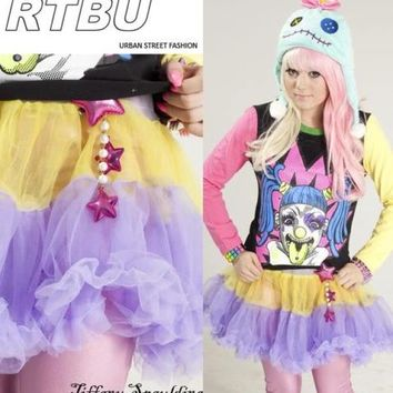 Decora Tri-Color Tutu Skirt PASTEL BLUE.YELLOW.PURPLE