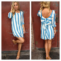 Blue Stripe Bow Back Dress