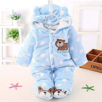 BibiCola Autumn Infant Clothing Newborn Baby Girls Warm Thick Rompers Baby Girl Jumpsuits Kids Sport Suit Baby Pajamas