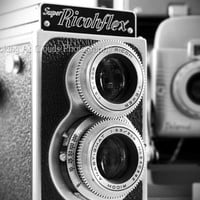 vintage film cameras - art PHOTO - black and white 8 x 10 - - Polaroid Ricohflex - photographer gift - retro decor
