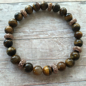 Tigers Eye Stretch Bracelet Tigers Eye Gemstone Beaded Bracelet Chrysoberyl Stretch Bracelet Tigers Eye Beaded Unisex Bracelet (ST107)