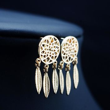 Fashion Women's Cool dreamcatcher Feathers  Alloy Drop Stud Earrings GD