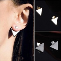 Gold or silver triangular earrings