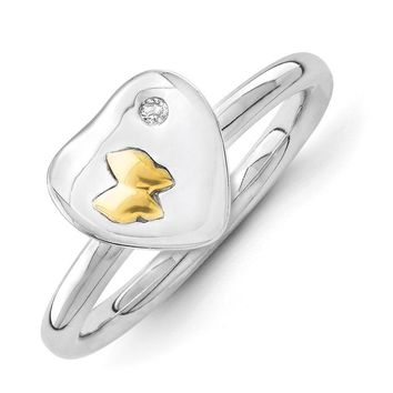 Sterling Silver & 14k Gold Butterfly .015 Ct Diamond Heart Stack Ring