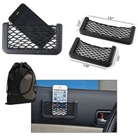 Detachable Car Seat Storage Net Organizers, 2 Pack (1 Small and 1 Large) (Black)