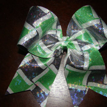 Lime Green and Navy Patterned Cheer Bow by isparklethat on Etsy