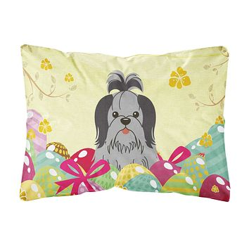 Easter Eggs Shih Tzu Black Silver Canvas Fabric Decorative Pillow BB6089PW1216