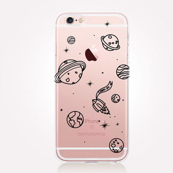 Transparent Planets Phone Case - Transparent Case - Clear Case - Transparent iPhone 6 - Samsung S7 - Soft TPU - Gel Case - iPhone SE
