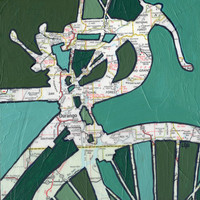 Bike Durango--bike art of original map painting - Durango Colorado, San Juan Forest large print 13x13