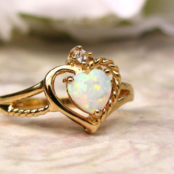 Romantic Opal Heart Ring 10K Gold Diamond Accent Promise Ring October Birthstone Ring Valentine's Day Gift!