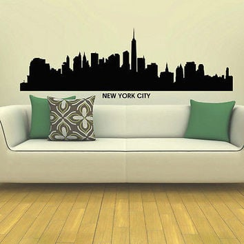 WALL DECAL VINYL STICKER NEW YORK CITY SKYLINE CITY SILHOUETTE DECOR SB94