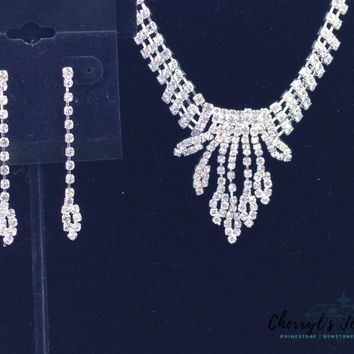 Rhinestone Waterfall Prom or Cocktail Necklace and Earring Set