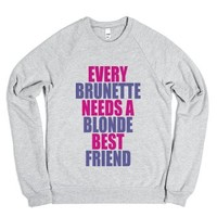 C - Every Brunette (Blonde)-Unisex Heather Grey Sweatshirt