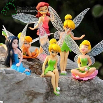 Miniature Flying Flower Fairy Garden Ornaments; 6 Pc. Set