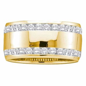 14kt Yellow Gold Women's Round Diamond Double Row Eternity Wedding Band 1.00 Cttw - FREE Shipping (US/CAN)