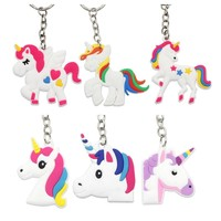 10Pc Unicorn Party Cartoon Key Chain for Kids Baby Shower Birthday Party Favors Wedding Gifts for Guests bags decoration pendant