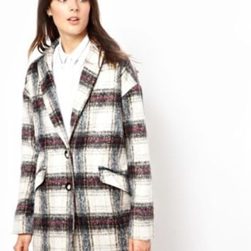 ASOS Brushed Check Ovoid Coat - Multi check