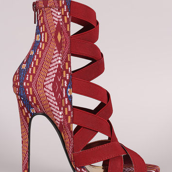 Liliana Tribal Strappy Crisscross Stiletto Heel