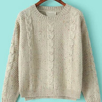 Apricot Three Quarter Sleeves Cable Knit Sweater