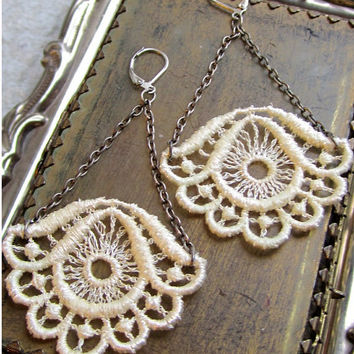Ivory Lace Earrings Victorian Gypsy Earrings by RoseoftheMire