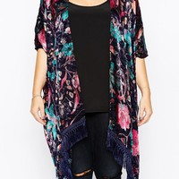 ASOS Curve | ASOS CURVE Exclusive Premium Kimono In Burnout Floral at ASOS