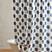 Ikat Dot Shower Curtain in Navy Blue One Size Size Bedding by Anthropologie
