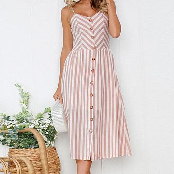 Sexy off shoulder strap summer dress women V neck stripe a line midi dress Smocking button casual dress female vestidos