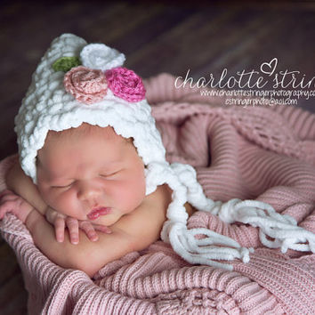 Baby Girl Hat Bonnet White with Flower Bouquet- Newborn to 3 Months -Custom Made Choice of Colors