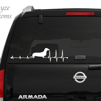Dachshund Heartbeat/Car/Computer vinyl decal