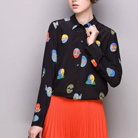 Black Mask Print Long-Sleeve Button Collared Shirt