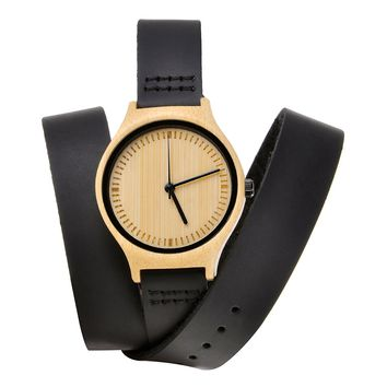 ZLYC Leather Band Watch Wooden Wrap Wrist Watch Bamboo Wood Watch for Men, Women, Black
