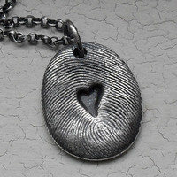 Fingerprint Necklace with a Heart Impression  by janewearjewelry
