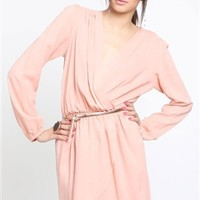 Love Shrimp Wrap Dress- Love Long Sleeve Wrap Dresses- Love Dresses- $64.99