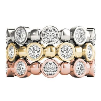 Stackables 3/4 Eternity Tri-Tone Gold Round Bezel Diamonds & Large Beads 3-Band Set