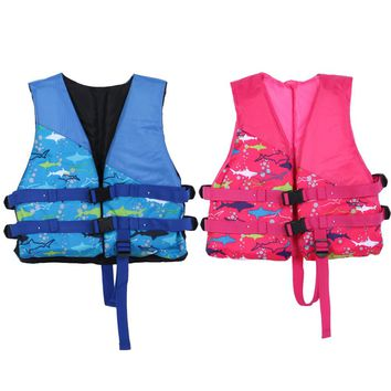 Kids Life Jacket Water Sports Outdoor Polyester Universal Swimming Boating Ski Vest Survival Suit Children Inflatable Swimwear