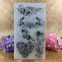 Clear Stamp Scrapbook DIY photo cards account rubber stamp clear stamp transparent stamp  Flower Love Heart Butterfly 20*11cm