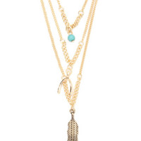 With Love From CA Wish Bone Triple Layer Necklace at PacSun.com