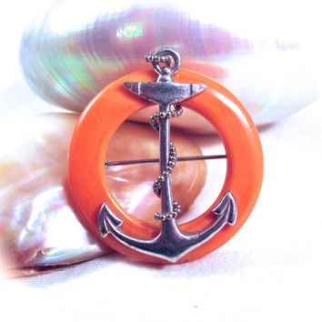 Vintage Butterscotch Bakelite Silver Sailors Ships Anchor Pin Brooch