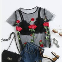 Floral Embroidered Rose Perspective Mesh Shirt Top