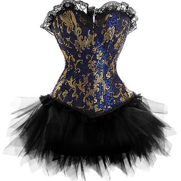 2016 New Dress Costume Burlesque Blue Gold Victorian Brocade Corset &Tutu Skirt Outfit Part Halloween Christmas S-6XL