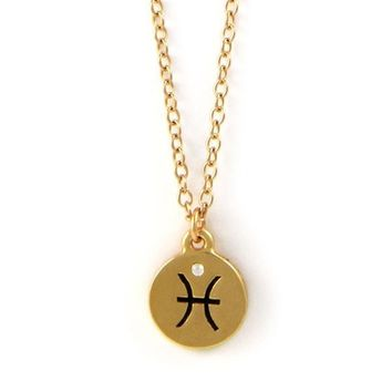Pisces Gold Chain Necklace with Crystal Accent