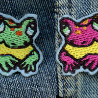 Little Frog/Toad Friend iron on embroidered patch